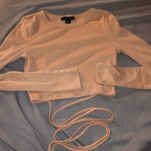 Lace-Up Back Long Sleeve Crop Top